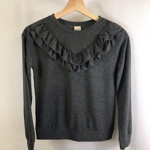 Girls long sleeve Top with ruffle charcoal size 14